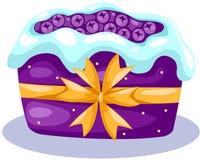 Fruit cake. Illustration of isolated fruit cake with icing on white Royalty Free Stock Photo