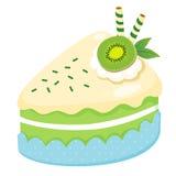 Fruit cake. With slice kiwi Stock Photos