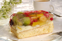 Fruit cake. On a plate Stock Photography