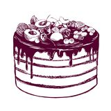 Fruit cake, birthday, dessert, symbol of the holiday, hand drawn vector illustration realistic sketch.  Stock Image