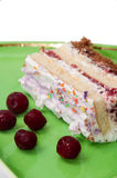 Fruit cake with cherries on green plate with frozen cherries Stock Images