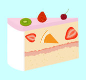 Fruit cake with cherry and strawberry. Sweet fruit cake with cherry and strawberry  on white Royalty Free Stock Photo