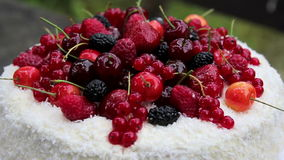 Fruit cake with coconut flakes with jelly berries.Fruit jelly cake.Berry, birthday cake.Culinary masterpieces.Summer holiday desse stock video