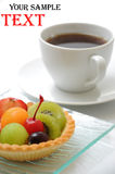 Fruit cake with coffee Stock Photography
