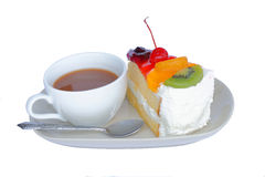 Fruit cake and coffee cup. On white background Stock Photos