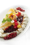 Fruit cake with cream Royalty Free Stock Images