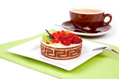 Fruit cake with cup caffee, Stock Image