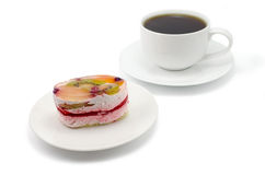 Fruit cake and cup of tea Royalty Free Stock Image