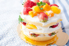 Fruit cake. A cuted  fruit birthday cake ,with strawberry yellow peach on it Royalty Free Stock Image