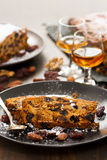 Fruit cake on dark plate Royalty Free Stock Photography