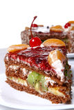 Fruit cake with desert cherry Royalty Free Stock Photos