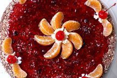 Fruit cake with desert cherry Royalty Free Stock Photography