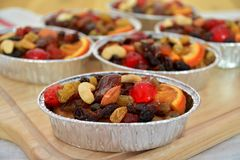 Fruit cake with dried fruit and almonds. Stock Image