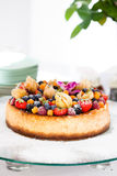 Fruit cake on glass tray Stock Images