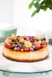 Fruit cake on glass tray Stock Images
