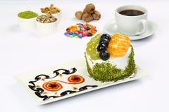 Fruit cake with grapes and mandarin royalty free stock photos
