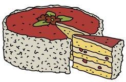 Fruit cake. Hand drawing of a fruit cake Royalty Free Stock Photos