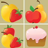 Fruit and cake icons Royalty Free Stock Image