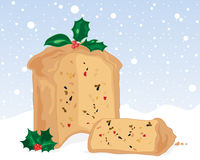 Fruit cake. An illustration of a christmas fruit cake and slice with holly decoration on a snowy background Royalty Free Stock Image