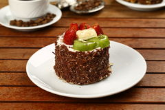 Fruit cake with kiwi and strawberry Royalty Free Stock Photography