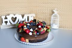 Fruit cake made in the house. With natural ingredients royalty free stock images