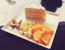 fruit and cake stock image