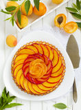 Fruit cake with peaches Royalty Free Stock Image
