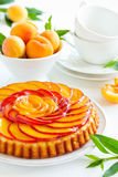 Fruit cake with peaches. And ricotta Royalty Free Stock Image
