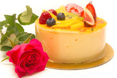 Fruit cake pie and rose Royalty Free Stock Photo