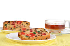 Fruit cake on a plate Stock Image