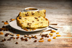 Fruit cake with raisins and candied fruit Royalty Free Stock Photo