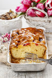 Fruit cake in rectangular pan Stock Photo