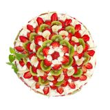 Fruit cake with strawberries and kiwi fruit Stock Photos