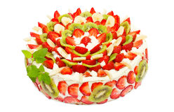 Fruit cake with strawberries and kiwi fruit Stock Photography