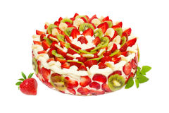 Fruit cake with strawberries and kiwi fruit Stock Images