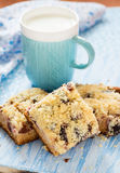 Fruit cake with streusel with cup of milk Stock Photo