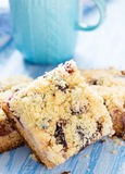 Fruit cake with streusel with cup of milk Royalty Free Stock Images