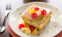 Fruit cake on table Royalty Free Stock Photography