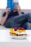 Fruit cake on the table. Royalty Free Stock Photo