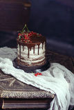 Fruit cake on the table in rustic kitchen; selective focus; vint Royalty Free Stock Photos