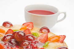 Fruit cake and tea Royalty Free Stock Images