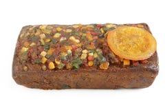 Fruit cake. On white background stock images