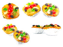 Fruit cake on white background. Collection of fruit cake on white background stock photo