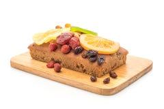 Fruit cake on white background. Fruit cake isolated on white background royalty free stock photo
