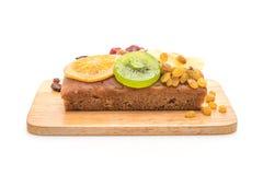 Fruit cake on white background. Fruit cake isolated on white background stock image