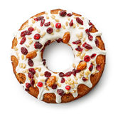 Fruit cake on white background. Fruit cake isolated on white background, top view stock image
