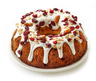Fruit cake on white background Stock Images