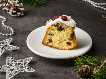 Fruit cake on white plate Royalty Free Stock Photography