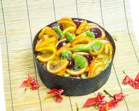 Fruit Cake on wooden bamboo. Background Royalty Free Stock Image