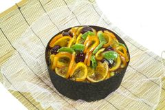 Fruit Cake on wooden bamboo. Background Royalty Free Stock Photos